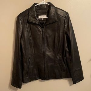 Large Calvin Klein 100% Leather jacket cost womens
